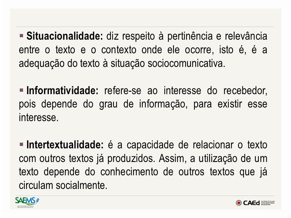 Situacionalidade: diz respeito à pertinência e relevância entre o texto e o contexto onde ele ocorre, isto é, é a adequação do texto à situação sociocomunicativa.