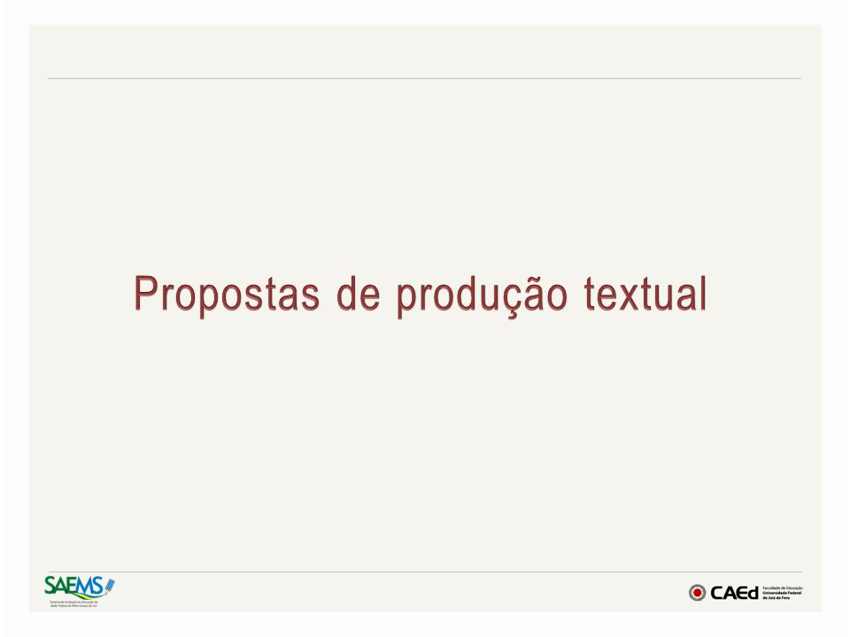 Propostas de produção textual