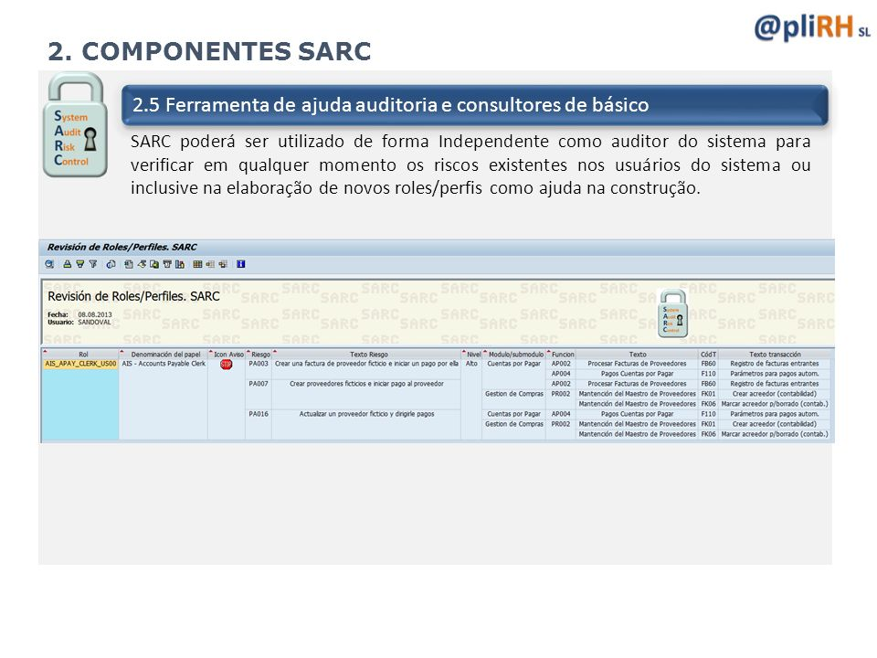 2. COMPONENTES SARC 2.5 Ferramenta de ajuda auditoria e consultores de básico.