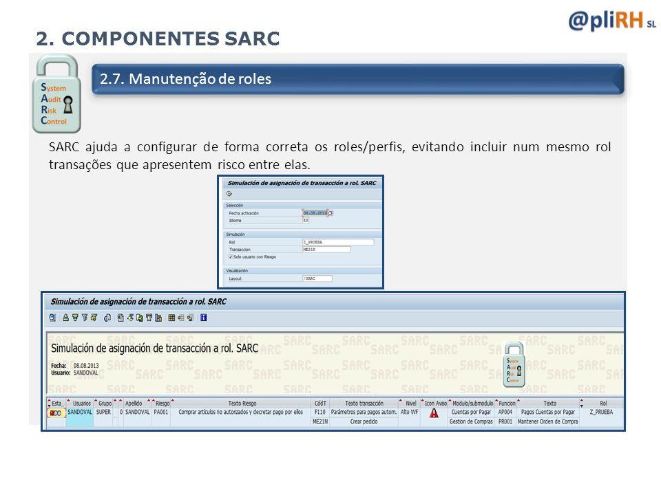 2. COMPONENTES SARC 2.7. Manutenção de roles