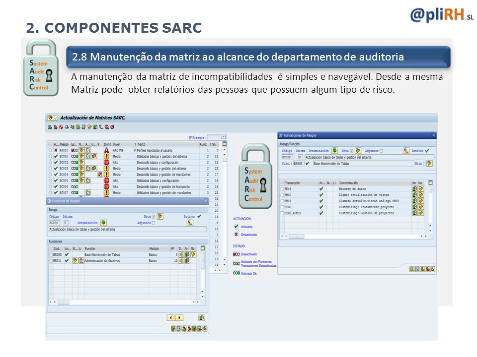 2. COMPONENTES SARC 2.8 Manutenção da matriz ao alcance do departamento de auditoria.