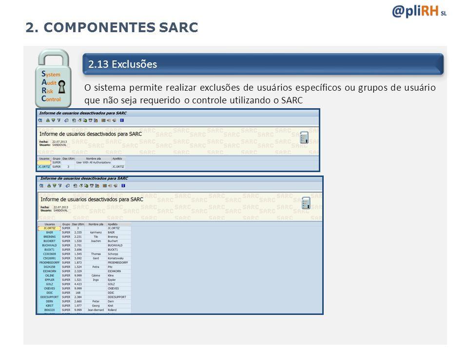 2. COMPONENTES SARC 2.13 Exclusões