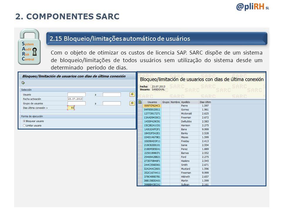 2. COMPONENTES SARC 2.15 Bloqueio/limitações automático de usuários