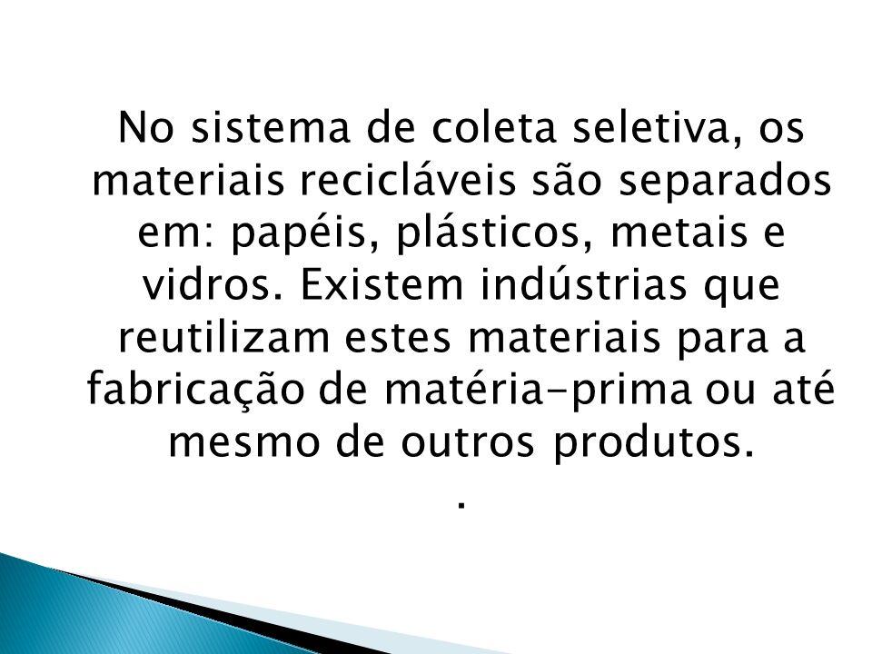No sistema de coleta seletiva, os materiais recicláveis são separados em: papéis, plásticos, metais e vidros. Existem indústrias que reutilizam estes materiais para a fabricação de matéria-prima ou até mesmo de outros produtos.