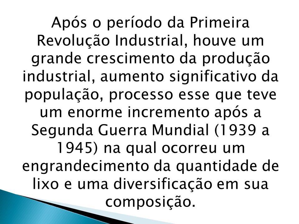 Após o período da Primeira Revolução Industrial, houve um grande crescimento da produção industrial, aumento significativo da população, processo esse que teve um enorme incremento após a Segunda Guerra Mundial (1939 a 1945) na qual ocorreu um engrandecimento da quantidade de lixo e uma diversificação em sua composição.