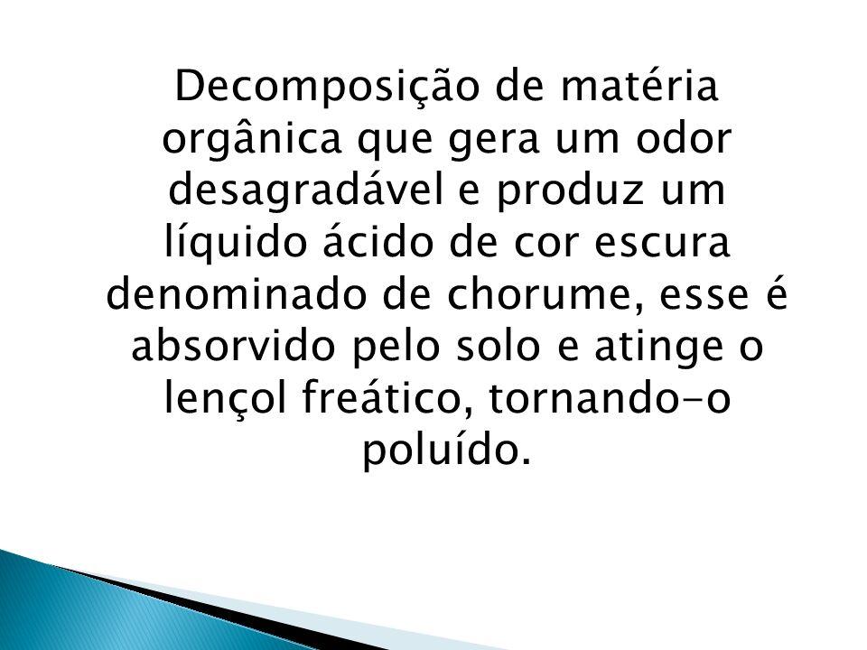 Decomposição de matéria orgânica que gera um odor desagradável e produz um líquido ácido de cor escura denominado de chorume, esse é absorvido pelo solo e atinge o lençol freático, tornando-o poluído.