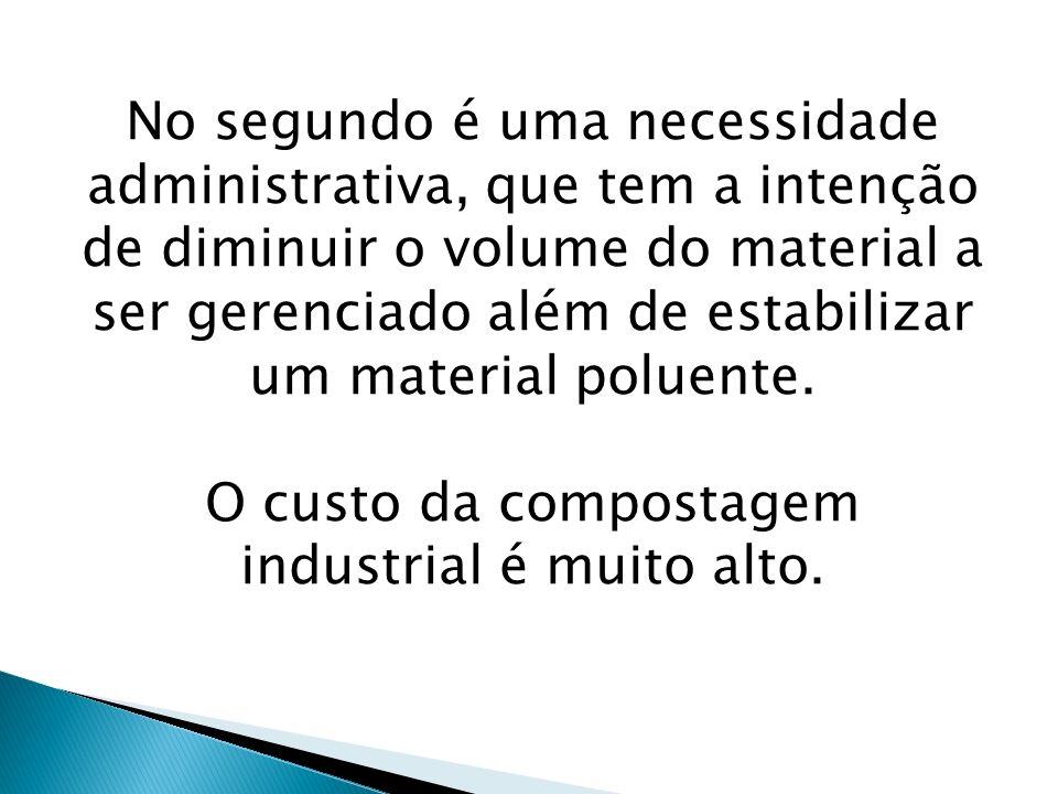 O custo da compostagem industrial é muito alto.