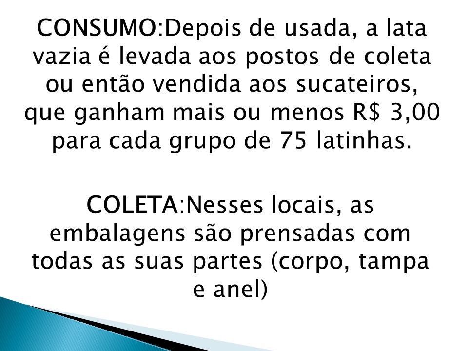 CONSUMO:Depois de usada, a lata vazia é levada aos postos de coleta ou então vendida aos sucateiros, que ganham mais ou menos R$ 3,00 para cada grupo de 75 latinhas.