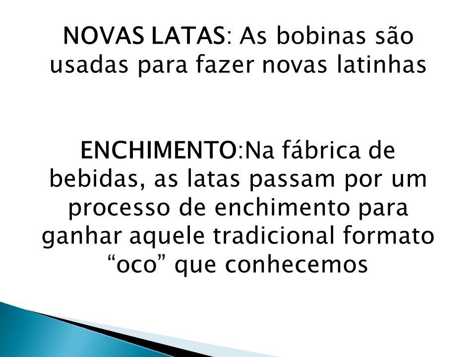 NOVAS LATAS: As bobinas são usadas para fazer novas latinhas