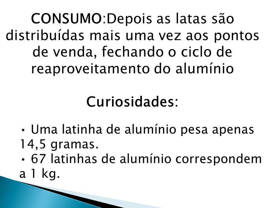 CONSUMO:Depois as latas são distribuídas mais uma vez aos pontos de venda, fechando o ciclo de reaproveitamento do alumínio