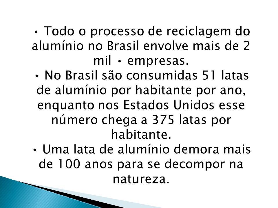 • Todo o processo de reciclagem do alumínio no Brasil envolve mais de 2 mil • empresas.