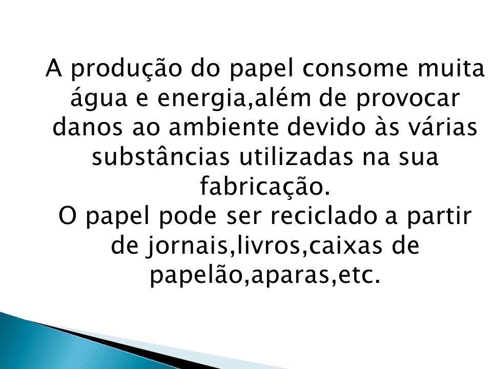 A produção do papel consome muita água e energia,além de provocar danos ao ambiente devido às várias substâncias utilizadas na sua fabricação.