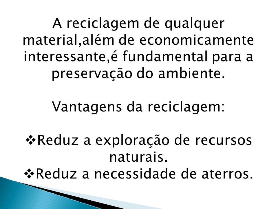 Vantagens da reciclagem: Reduz a exploração de recursos naturais.