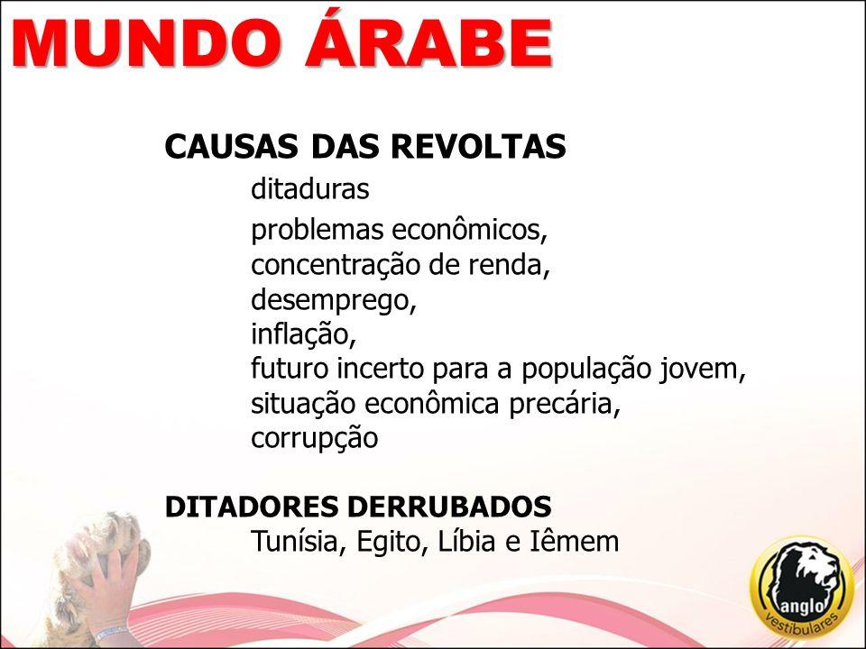 MUNDO ÁRABE CAUSAS DAS REVOLTAS ditaduras problemas econômicos,
