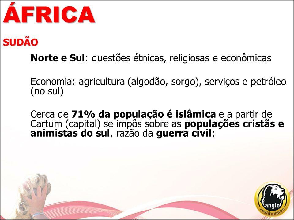 ÁFRICA SUDÃO Norte e Sul: questões étnicas, religiosas e econômicas