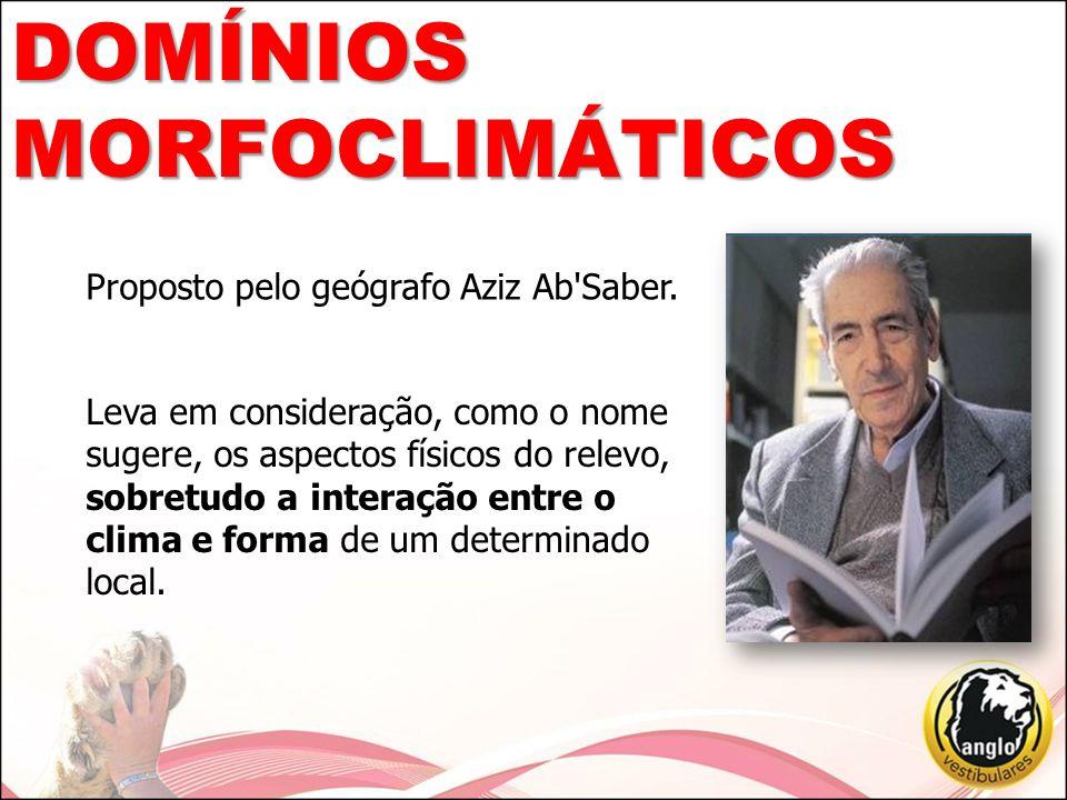 DOMÍNIOS MORFOCLIMÁTICOS Proposto pelo geógrafo Aziz Ab Saber.