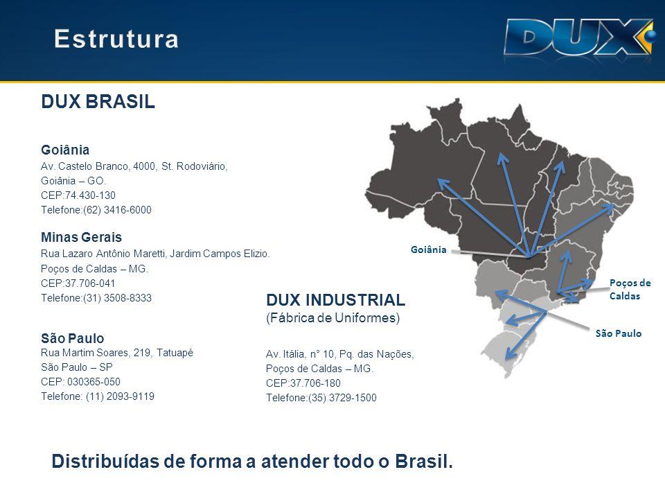 Estrutura DUX BRASIL Distribuídas de forma a atender todo o Brasil.