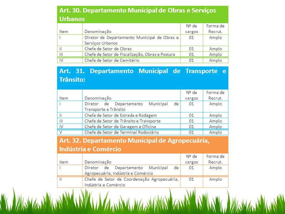 Art. 30. Departamento Municipal de Obras e Serviços Urbanos