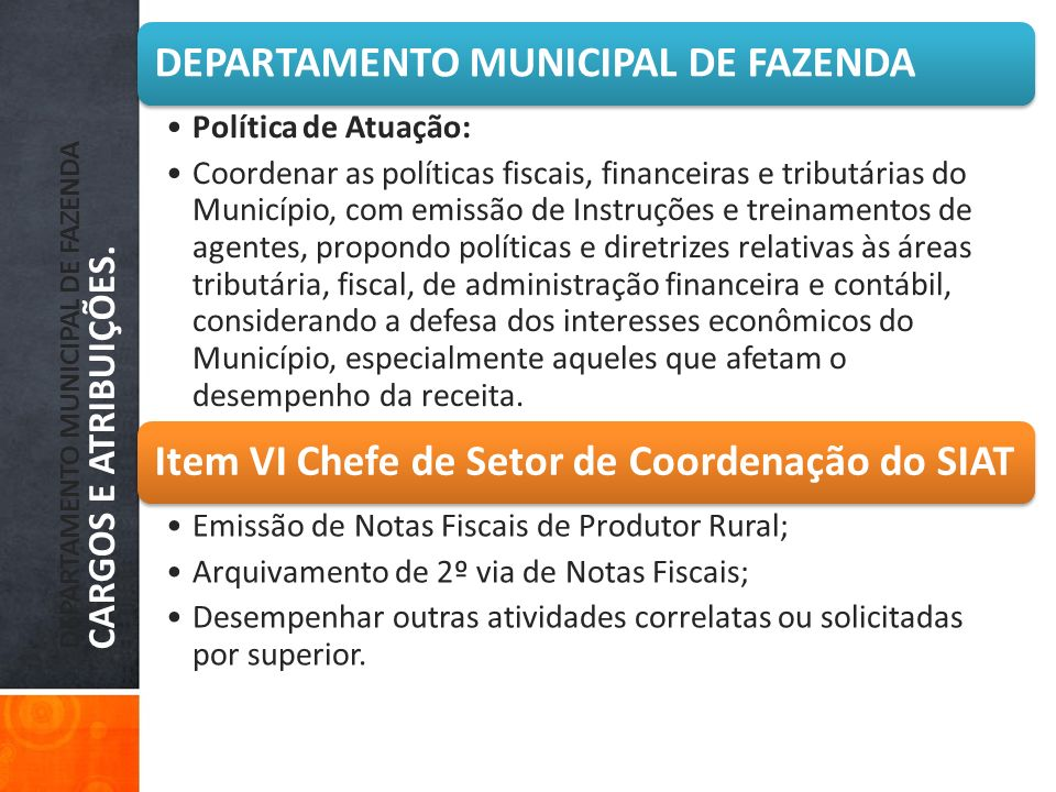 DEPARTAMENTO MUNICIPAL DE FAZENDA