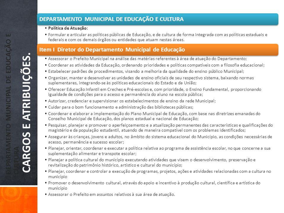 DEPARTAMENTO MUNICIPAL DE EDUCAÇÃO E CULTURA CARGOS E ATRIBUIÇÕES.