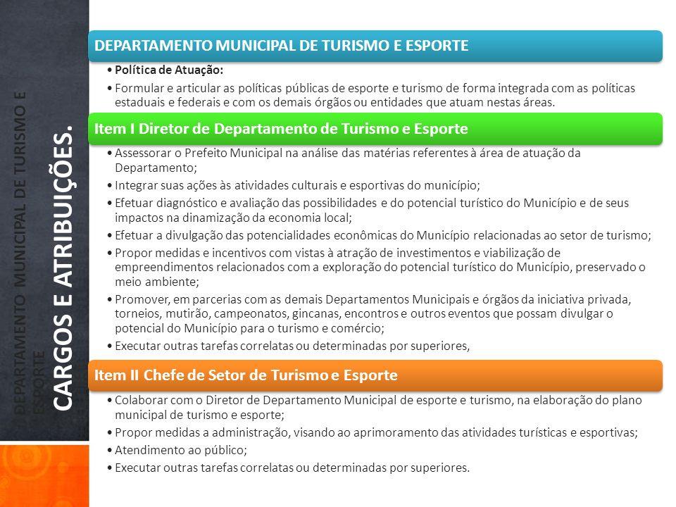 DEPARTAMENTO MUNICIPAL DE TURISMO E ESPORTE CARGOS E ATRIBUIÇÕES.