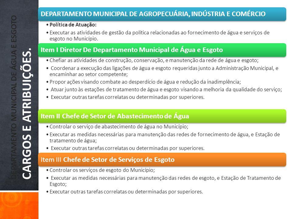 DEPARTAMENTO MUNICIPAL DE ÁGUA E ESGOTO CARGOS E ATRIBUIÇÕES.