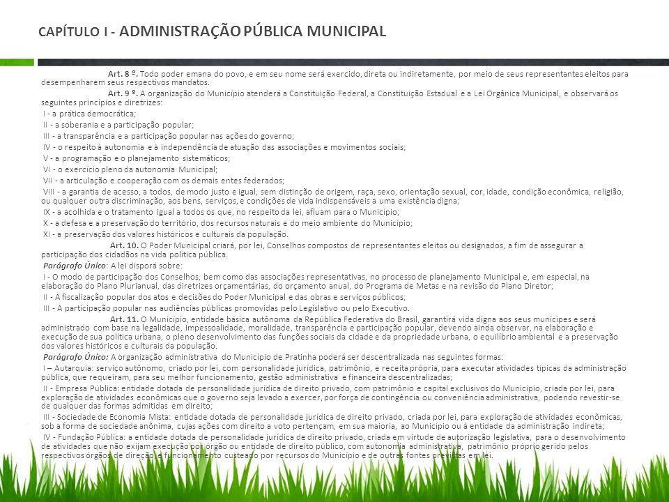 CAPÍTULO I - ADMINISTRAÇÃO PÚBLICA MUNICIPAL