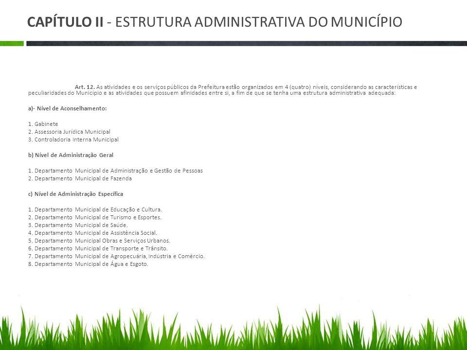 CAPÍTULO II - ESTRUTURA ADMINISTRATIVA DO MUNICÍPIO