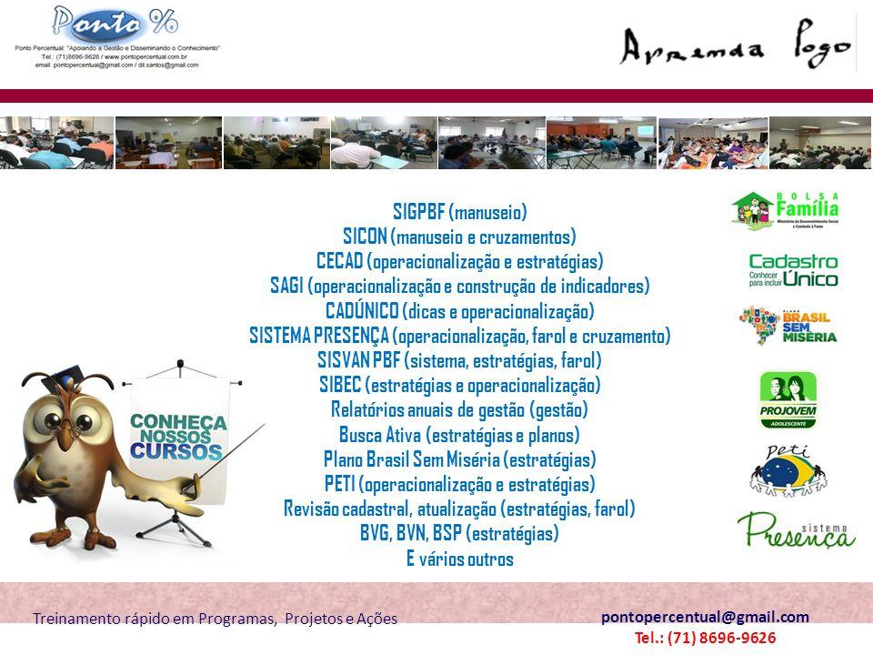 SICON (manuseio e cruzamentos) CECAD (operacionalização e estratégias)