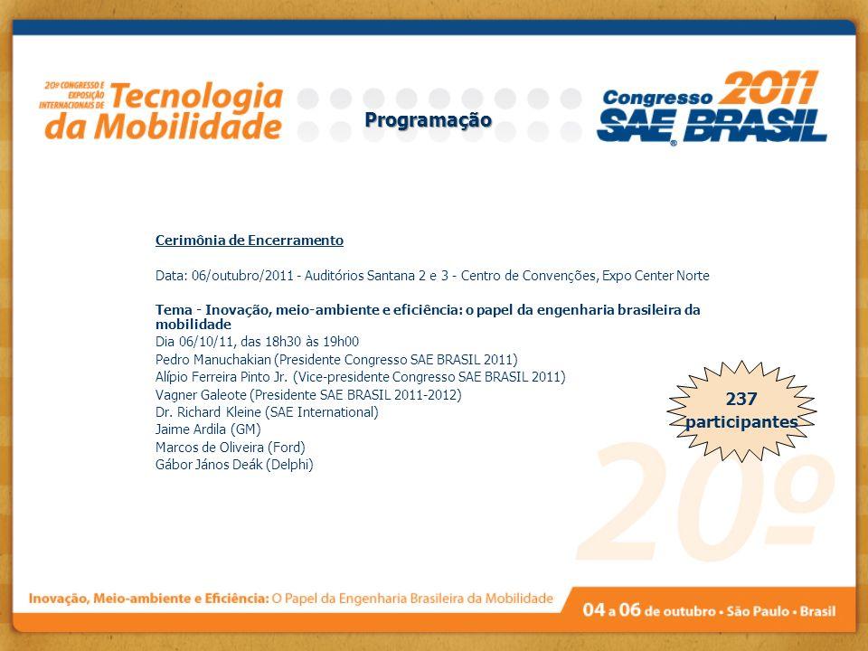 Programação 237 participantes Cerimônia de Encerramento