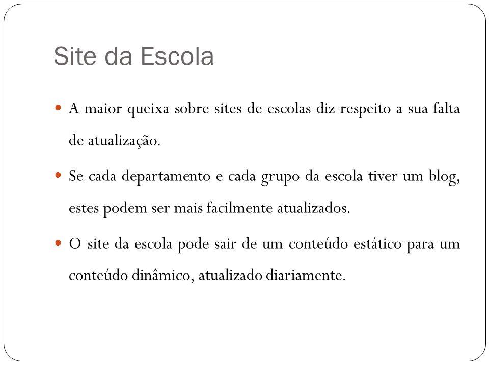 Site da Escola A maior queixa sobre sites de escolas diz respeito a sua falta de atualização.