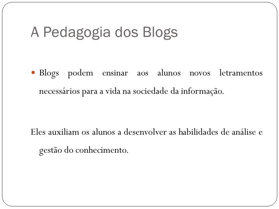 A Pedagogia dos Blogs Blogs podem ensinar aos alunos novos letramentos necessários para a vida na sociedade da informação.