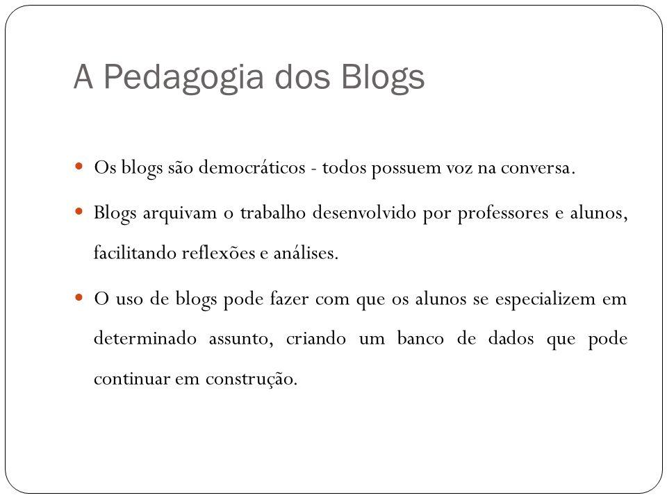 A Pedagogia dos Blogs Os blogs são democráticos - todos possuem voz na conversa.