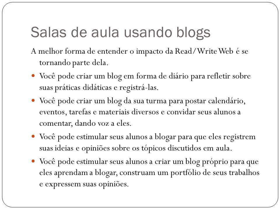 Salas de aula usando blogs