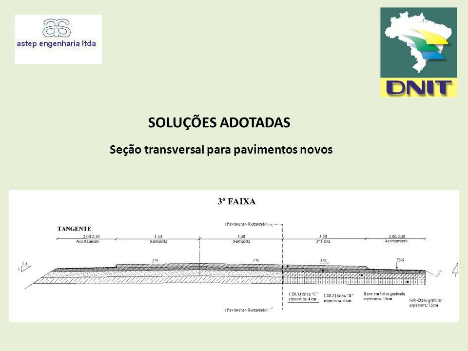 Seção transversal para pavimentos novos
