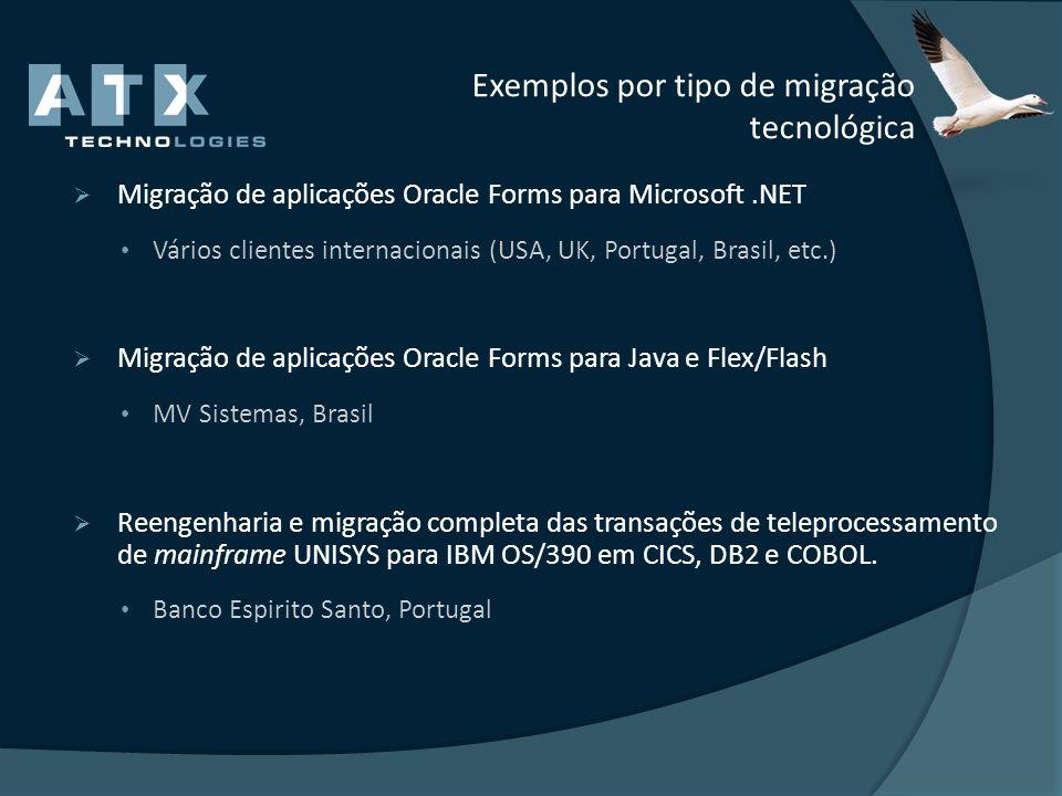 Exemplos por tipo de migração tecnológica