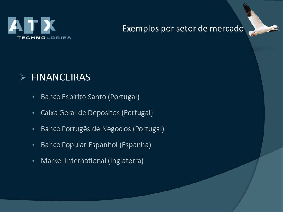 Exemplos por setor de mercado