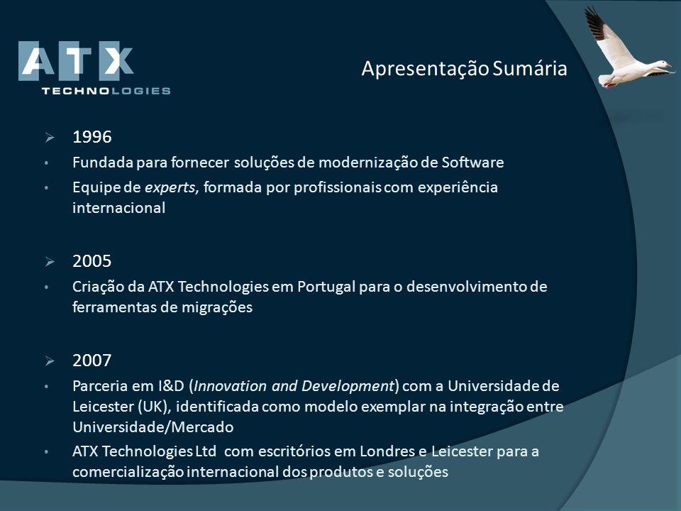 Apresentação Sumária 1996. Fundada para fornecer soluções de modernização de Software.