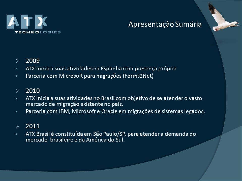 Apresentação Sumária 2009. ATX inicia a suas atividades na Espanha com presença própria. Parceria com Microsoft para migrações (Forms2Net)