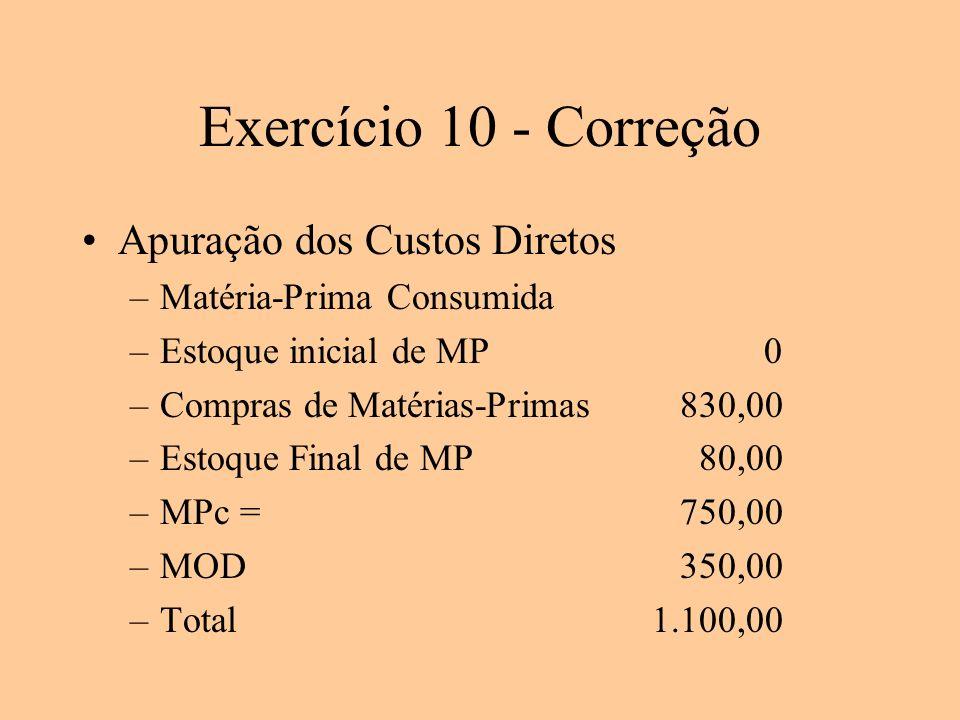 Exercício 10 - Correção Apuração dos Custos Diretos