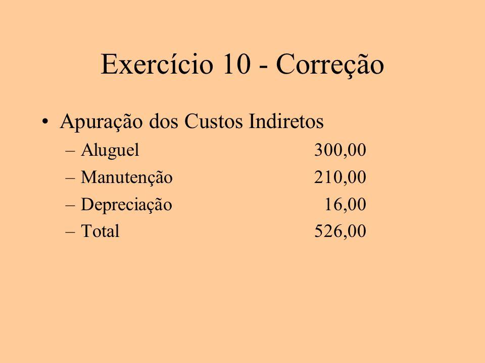 Exercício 10 - Correção Apuração dos Custos Indiretos Aluguel 300,00