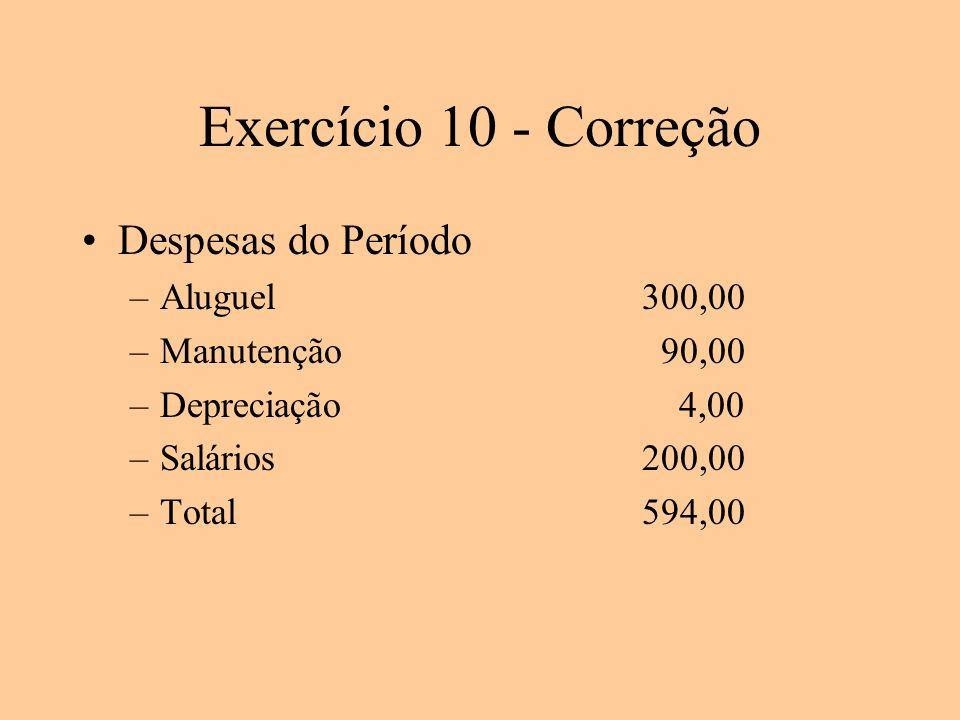 Exercício 10 - Correção Despesas do Período Aluguel 300,00
