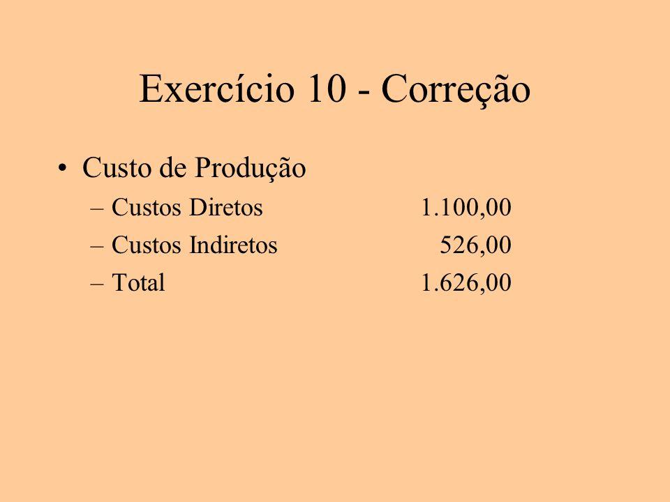 Exercício 10 - Correção Custo de Produção Custos Diretos 1.100,00