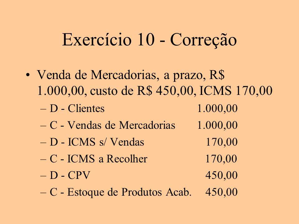 Exercício 10 - Correção Venda de Mercadorias, a prazo, R$ 1.000,00, custo de R$ 450,00, ICMS 170,00.
