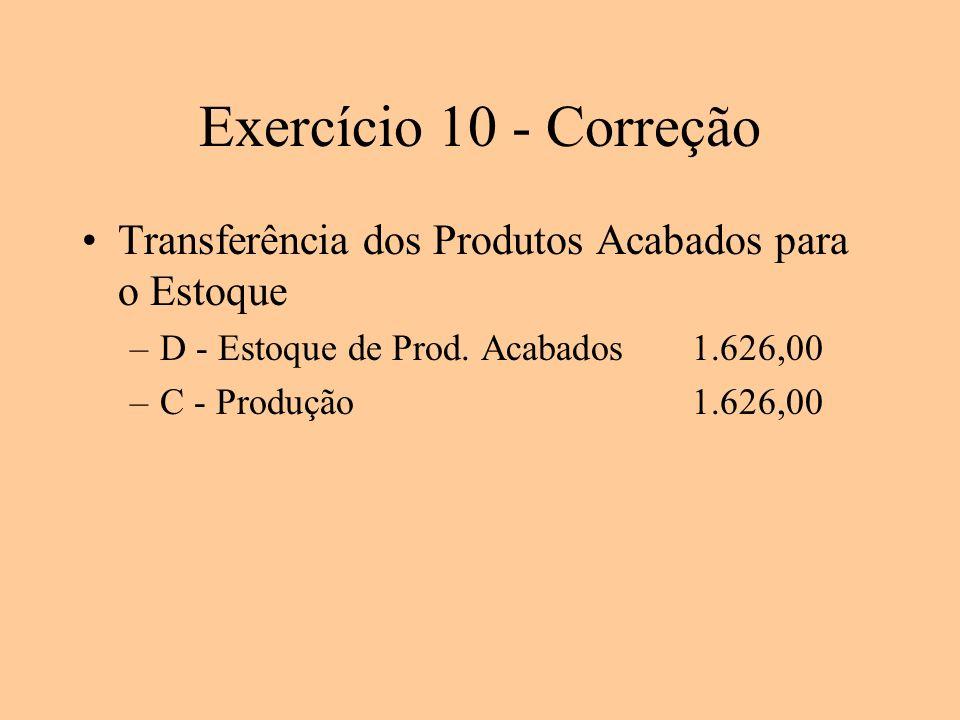 Exercício 10 - Correção Transferência dos Produtos Acabados para o Estoque. D - Estoque de Prod. Acabados 1.626,00.
