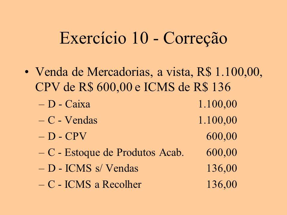Exercício 10 - Correção Venda de Mercadorias, a vista, R$ 1.100,00, CPV de R$ 600,00 e ICMS de R$ 136.