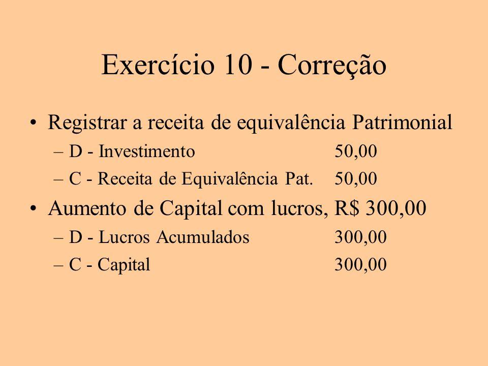 Exercício 10 - Correção Registrar a receita de equivalência Patrimonial. D - Investimento 50,00. C - Receita de Equivalência Pat. 50,00.