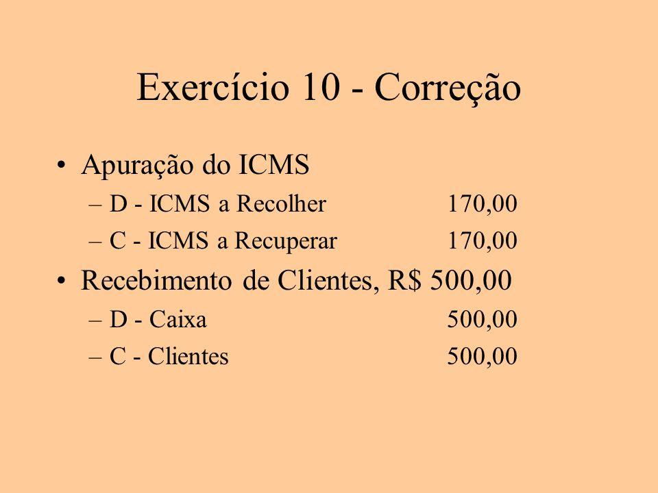 Exercício 10 - Correção Apuração do ICMS