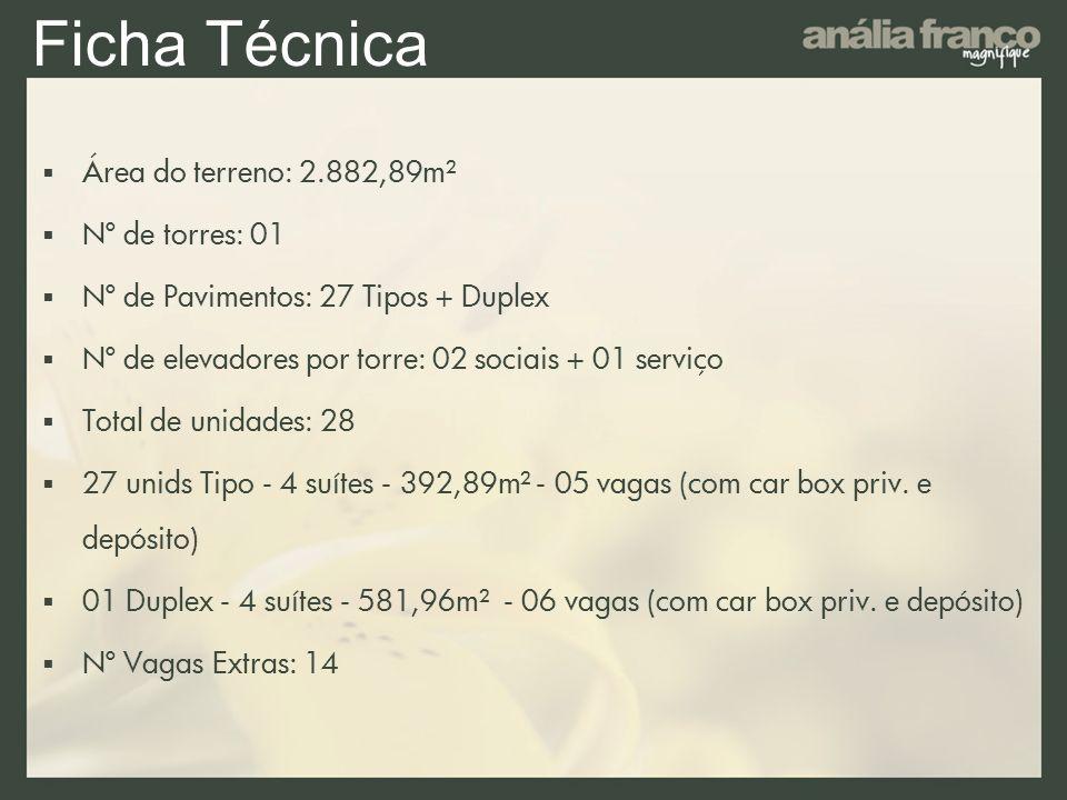 Ficha Técnica Área do terreno: 2.882,89m² Nº de torres: 01
