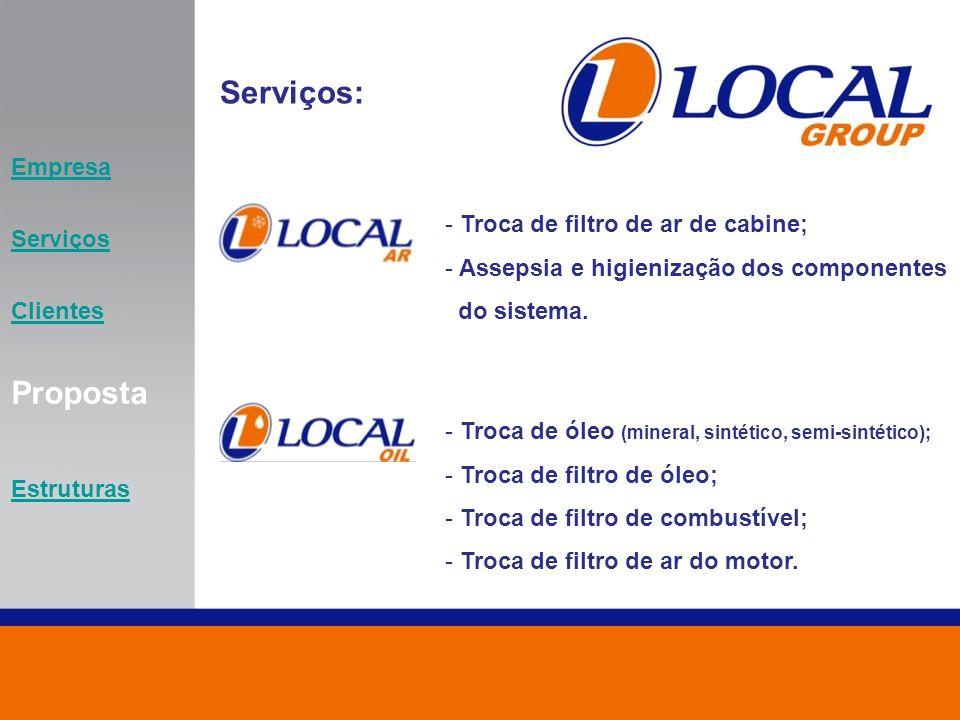 Serviços: Proposta Empresa Serviços Troca de filtro de ar de cabine;